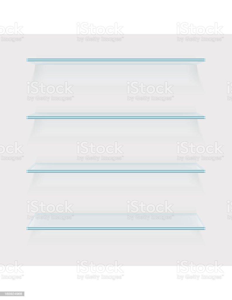 Four glass shelves on white background vector art illustration