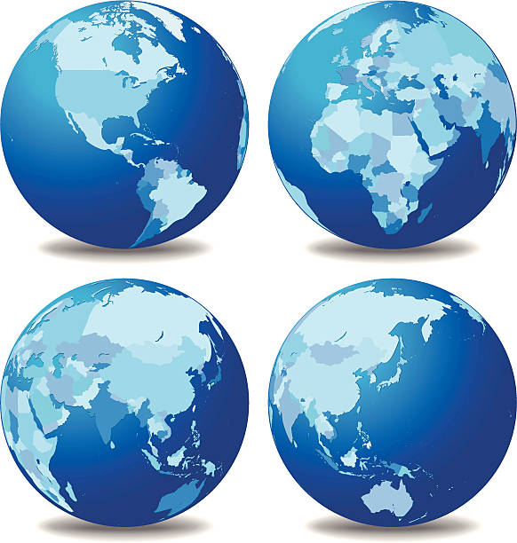 Four globes with different continents vector art illustration