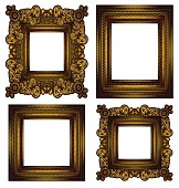 four isoltated golden frames.Individual elements and textures. See my collections linked below:http://i161.photobucket.com/albums/t234/lolon5/frames.jpg