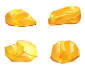 Four gold nuggets vector