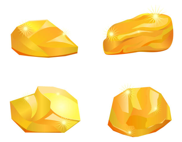Four gold nuggets vector vector art illustration