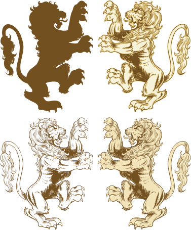 Four gold rearing lion designs