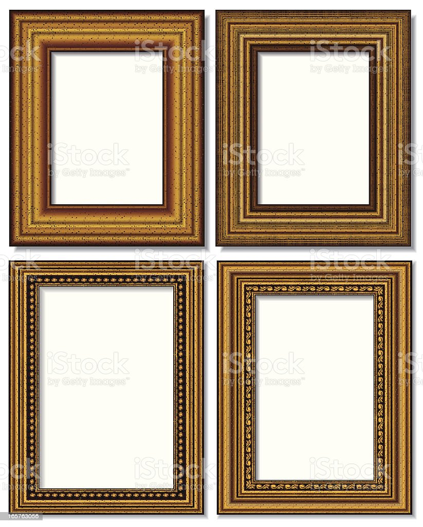 four golden picture frames isolated on white vector art illustration