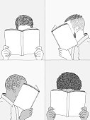 Hand drawn illustrations of men reading, hiding their faces behind their books - empty books to add your own text