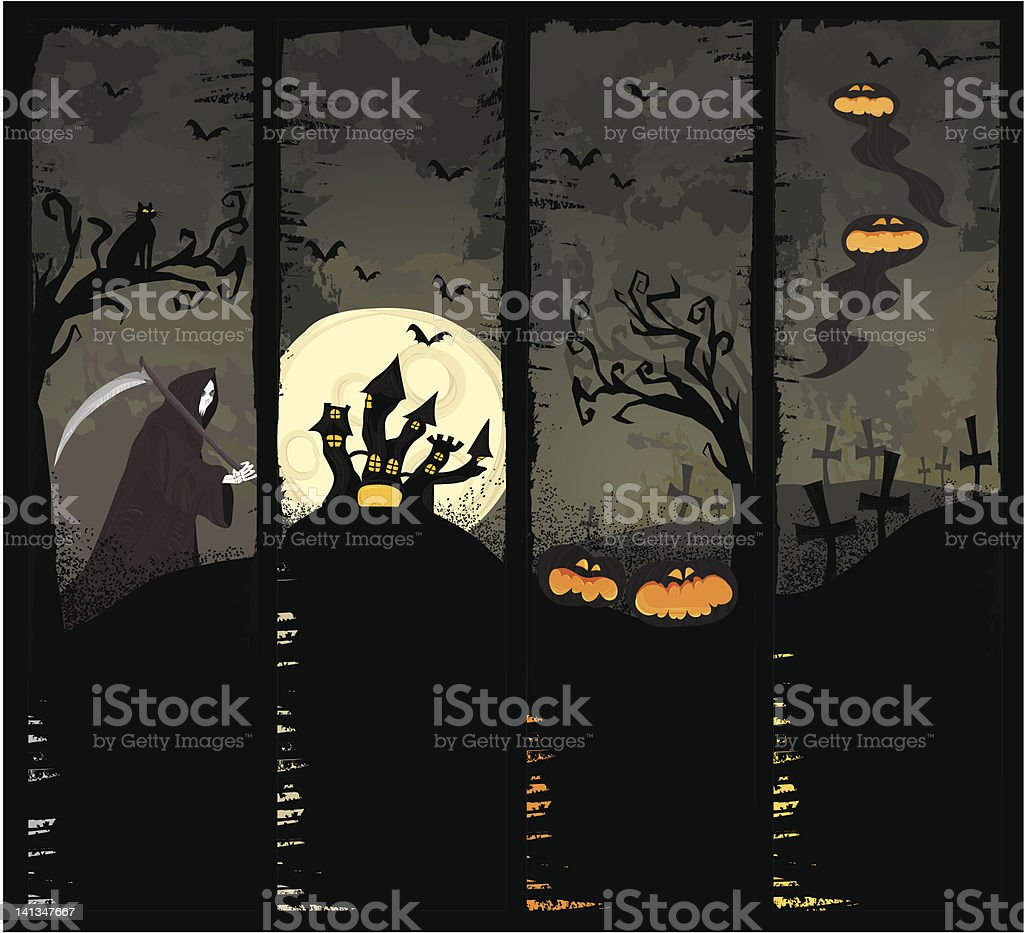 Four Halloween banners royalty-free stock vector art