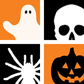 Vector illustration of four halloween icons. A ghost, skull, spider and jack o lantern.