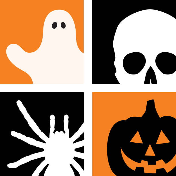 Four Halloween Icons Vector illustration of four halloween icons. A ghost, skull, spider and jack o lantern. ghost icon stock illustrations