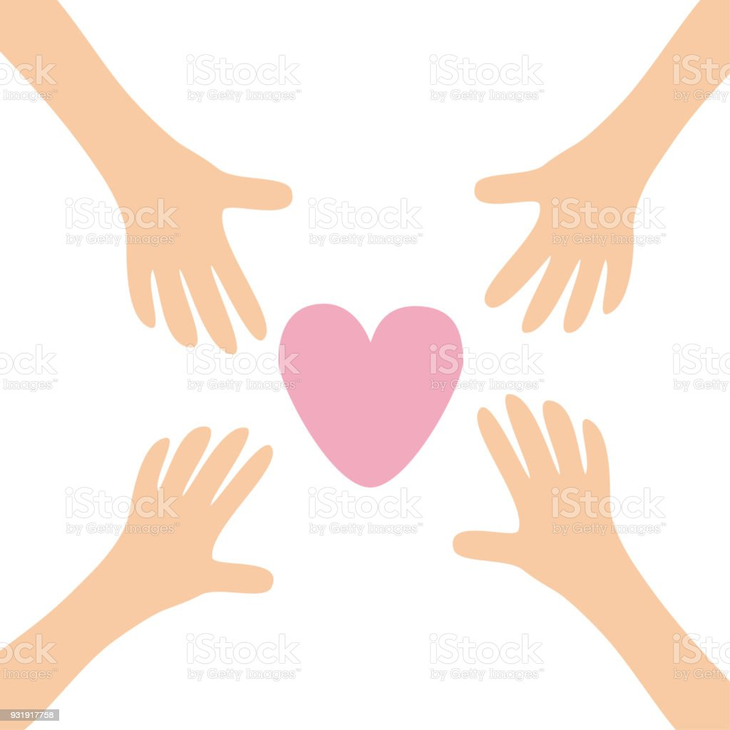 Four Hands arms reaching to big pink heart shape sign. Helping hand. Close up body part. Happy Valentines day. Greeting card. Flat design. Find love concept White background. Isolated. vector art illustration