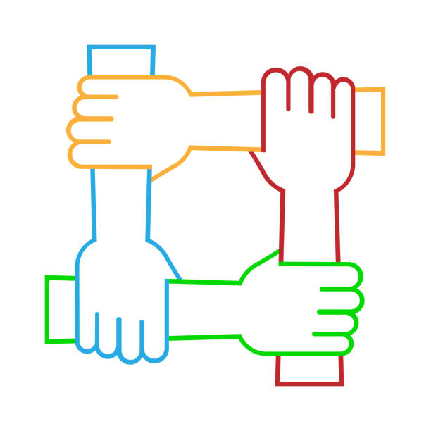 Four hands hold together for the wrist other. Four connected hands. Symbol for togetherness. isolated on white background. Vector illustration. Four hands hold together for the wrist other. Four connected hands. Symbol for togetherness. isolated on white background. Vector illustration. Eps 10. four people stock illustrations