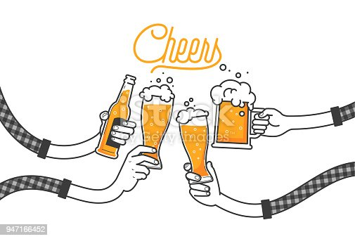 istock Four hands holding four beer bottles. Clinking glasses in plaid shirt. Party celebration in a pub. Isolated vector illustration of four drunk person drinking beer on white background. Cheers mate 947166452