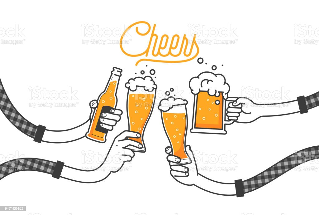 Four hands holding four beer bottles. Clinking glasses in plaid shirt. Party celebration in a pub. Isolated vector illustration of four drunk person drinking beer on white background. Cheers mate - illustrazione arte vettoriale