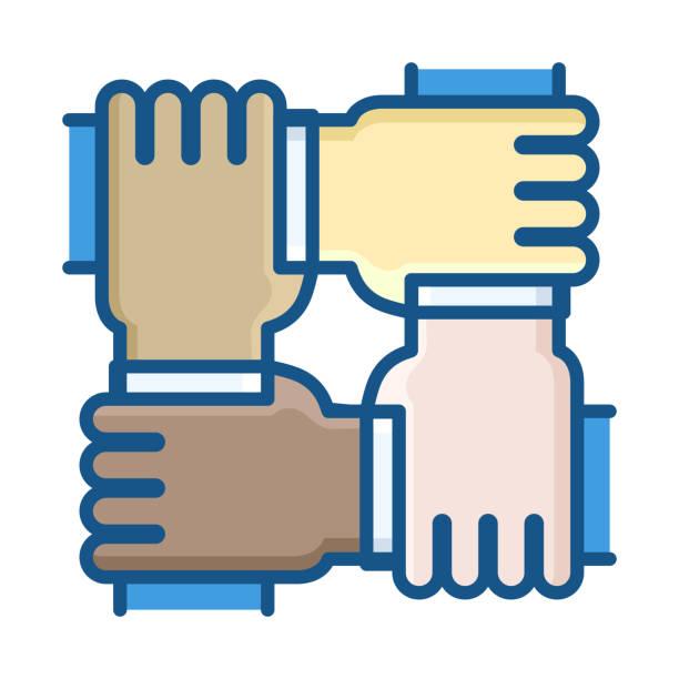 stockillustraties, clipart, cartoons en iconen met vier handen van verschillende etnische groepen, die samenwerken als een team. dunne lijn pictogram vectorillustratie. zakelijke, opstarten, non-profit organisatie, vrijwilligers, eenheid, gelijkheid, gemeenschap en andere concepten - non profit