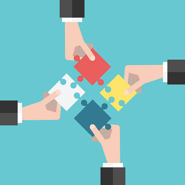 Four hands putting puzzles Four businessmen hands putting puzzle pieces together. Flat style illustration. Teamwork, cooperation, business and solution concept. EPS 8 vector illustration, no transparency four people stock illustrations