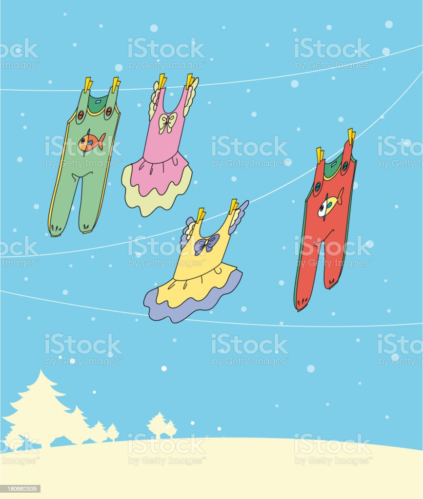 Four hanging clothes royalty-free stock vector art