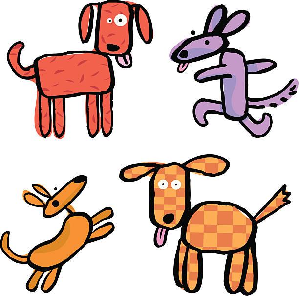 four happy dogs vektorkonstillustration