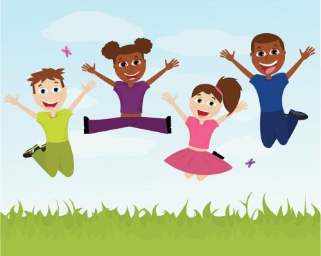 Four Happy Ethnic Children Jumping