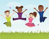 Four happy ethnic children jumping.