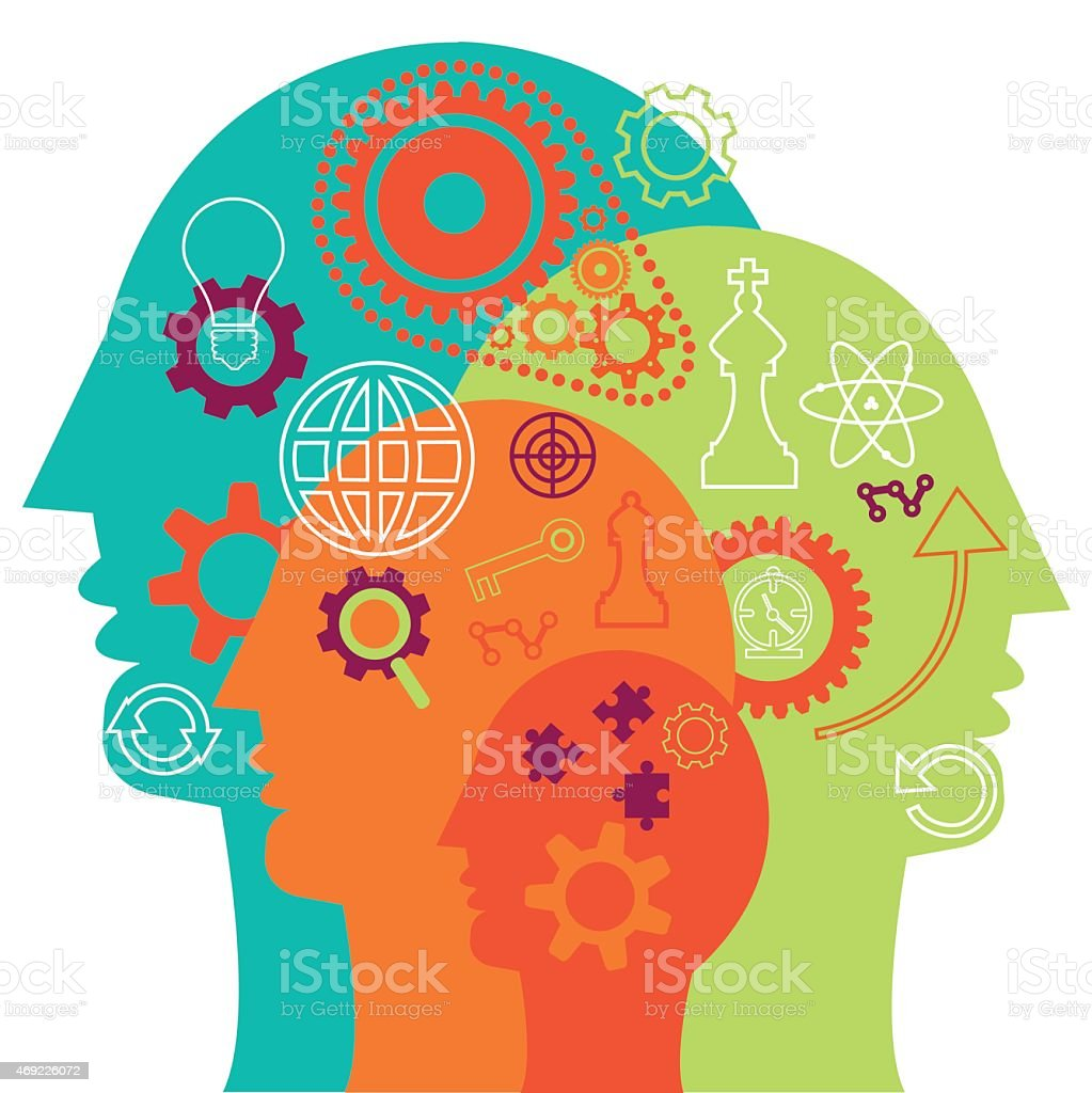 Four head outlines representing teamwork vector art illustration