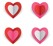 Vector illustration of four folded origami hearts