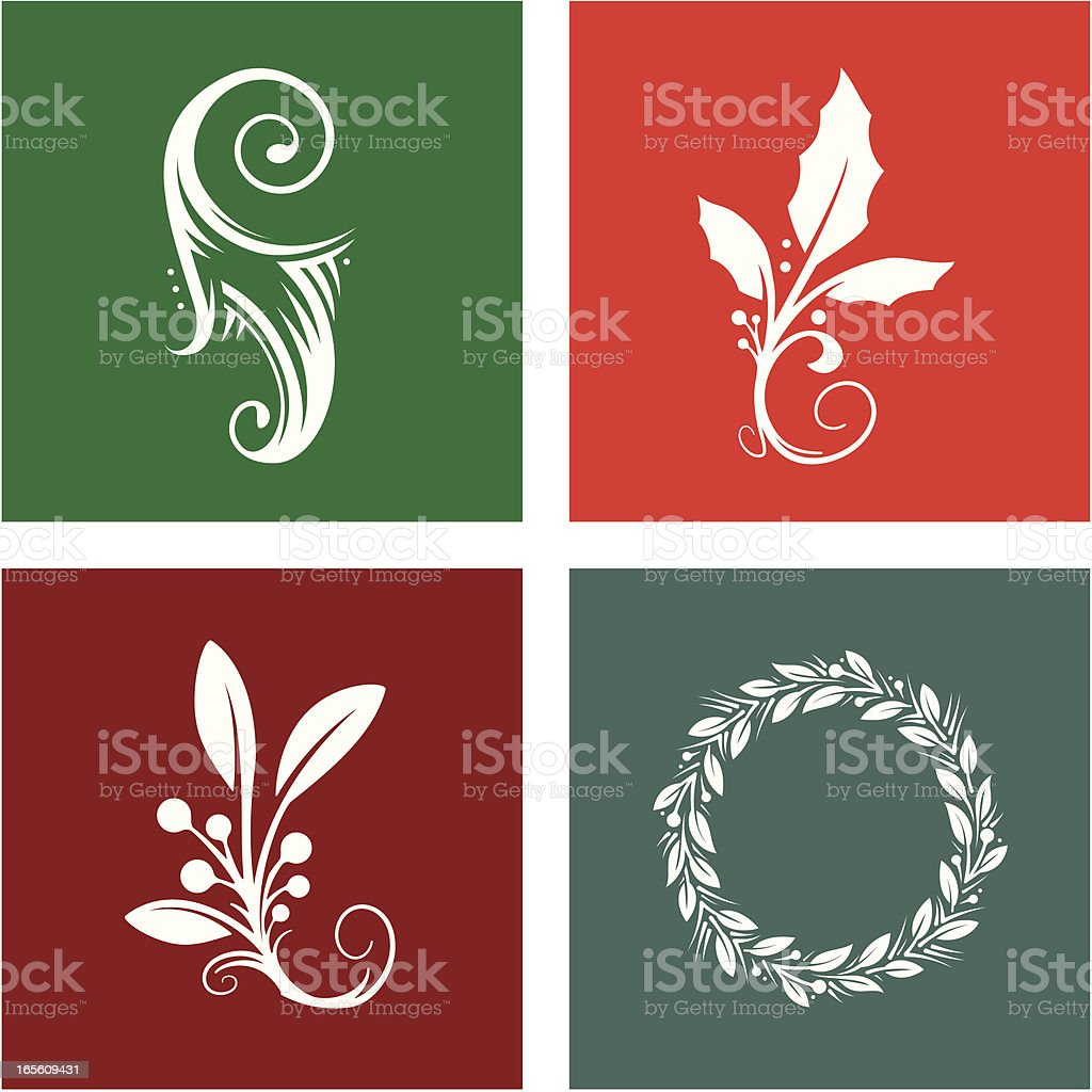 Four Holiday Design Elements royalty-free four holiday design elements stock vector art & more images of berry fruit