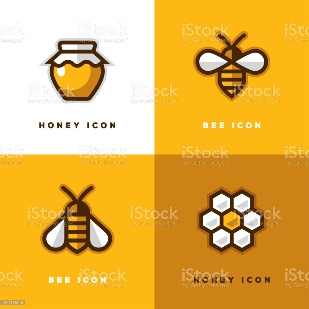 Four honey icons. vector art illustration