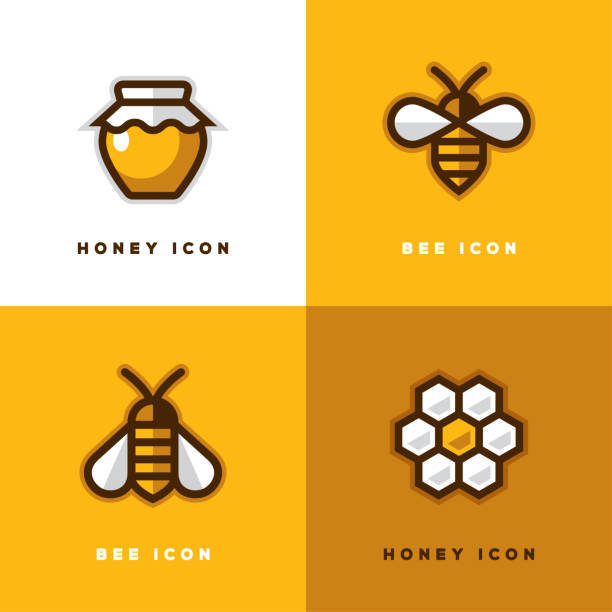 illustrazioni stock, clip art, cartoni animati e icone di tendenza di four honey icons. - miele