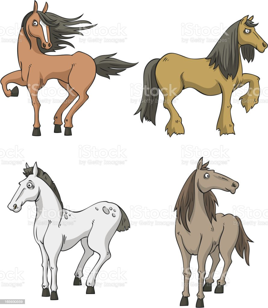 four Horses horse collection vector art illustration