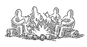 Four Human Figures Sitting At A Camp Fire Drawing