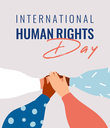 Four human hands support each other on the International Human rights day.