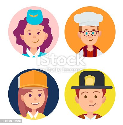 Vector illustration of stewardess in blue forage-cap, chief food in white toque, builder in yellow helmet and fireman in black hat.
