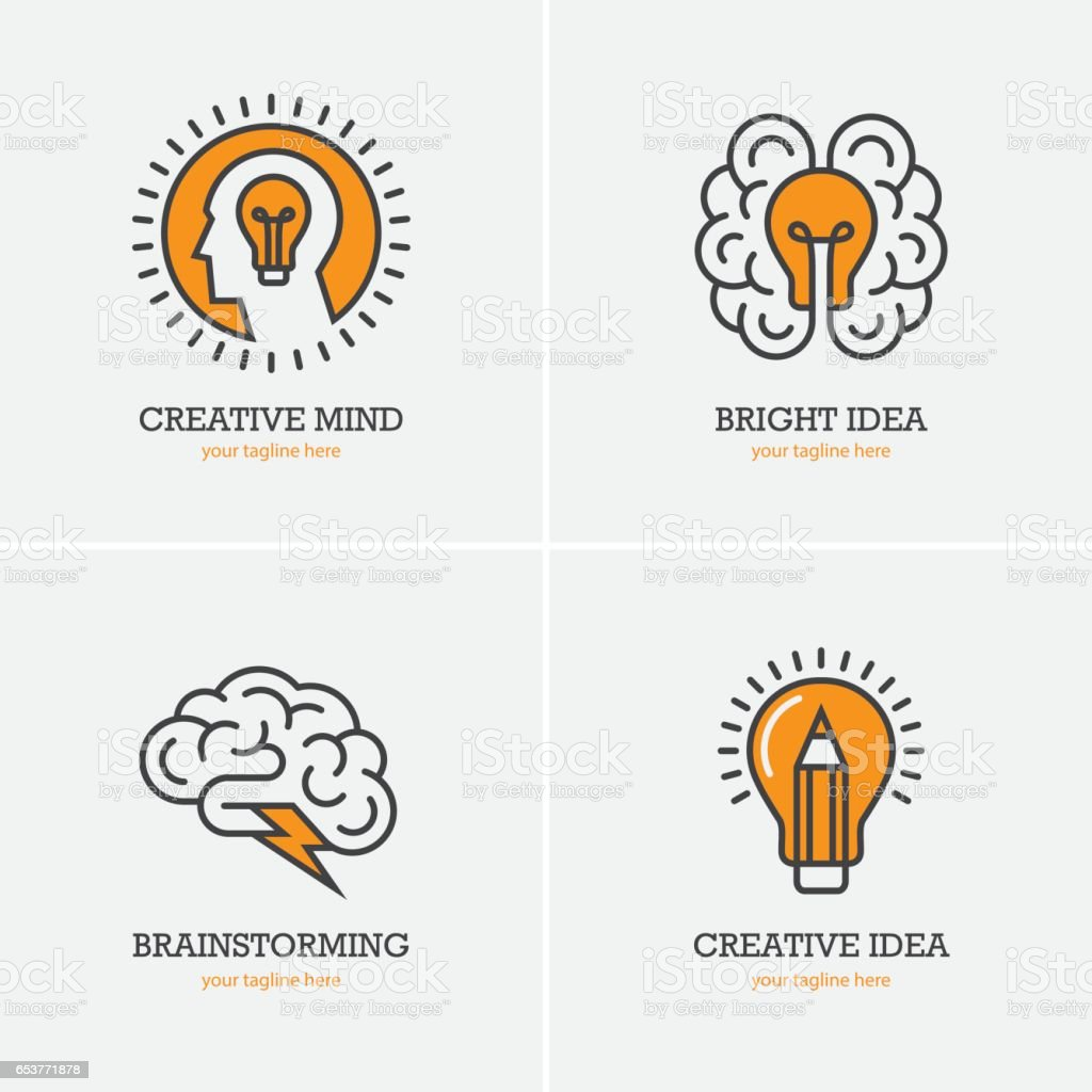 Four icons with human head, brain and light bulb - ilustração de arte vetorial