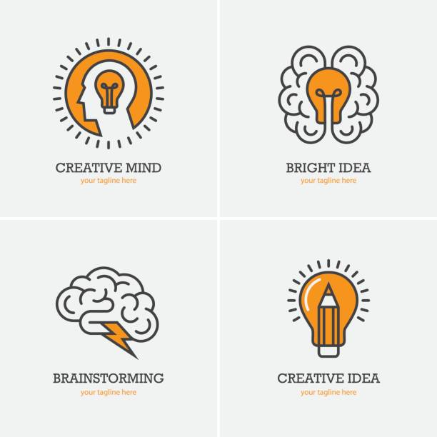 Four icons with human head, brain and light bulb vector art illustration