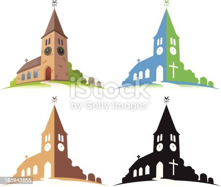 Church illustration. Layered and grouped for ease of use. Download includes EPS8 and hi-res jpeg files.