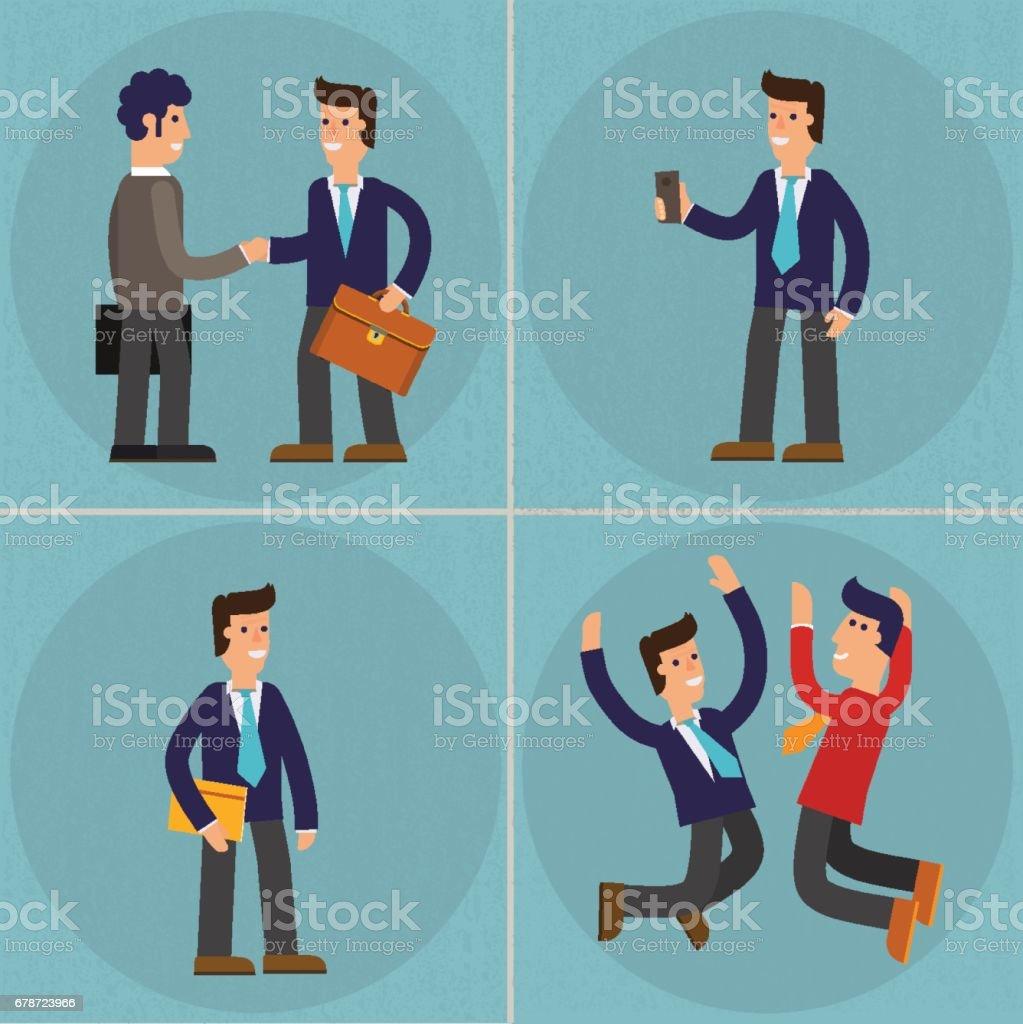 Four Illustrations of Cartoon Character Successful Businessman four illustrations of cartoon character successful businessman – cliparts vectoriels et plus d'images de adulte libre de droits