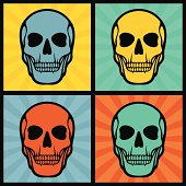 Four illustrations with skulls on pop art background.