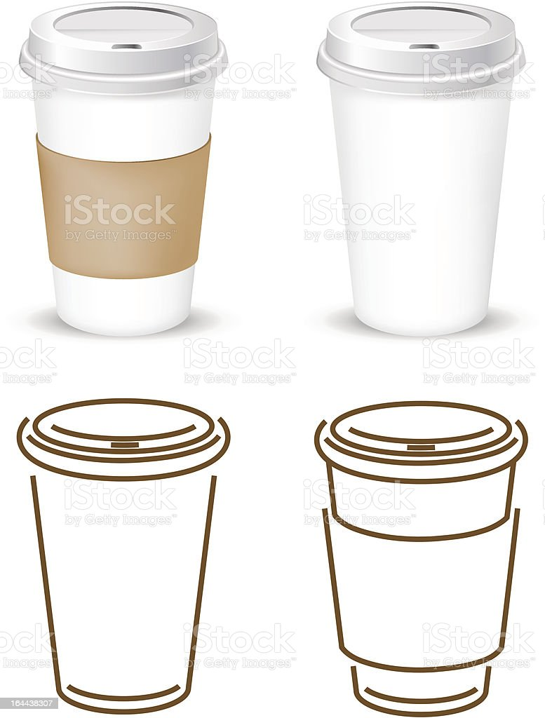 Four images of coffee cups, two are stylized vector art illustration