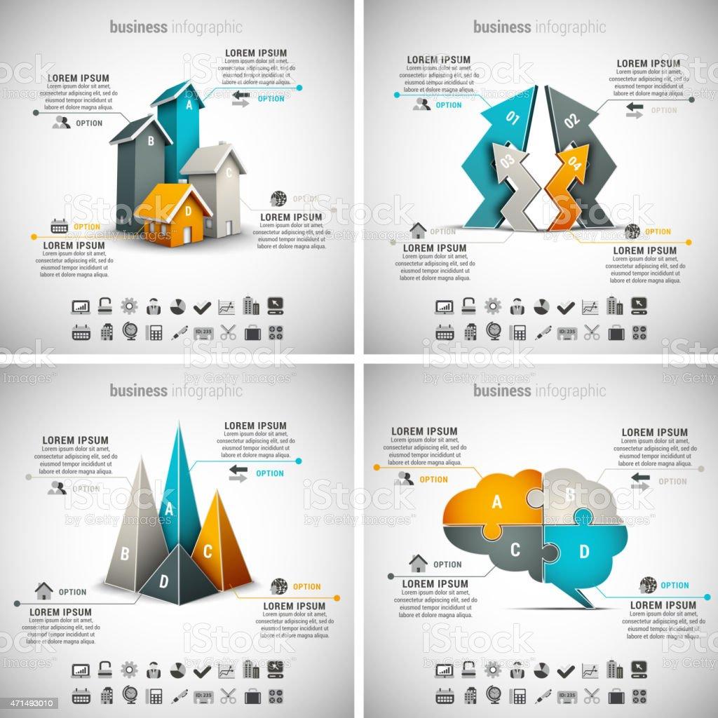 4 in 1 Business Infografiken – Vektorgrafik