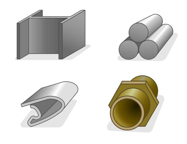 Vier individuelle Metallicons – Vektorgrafik