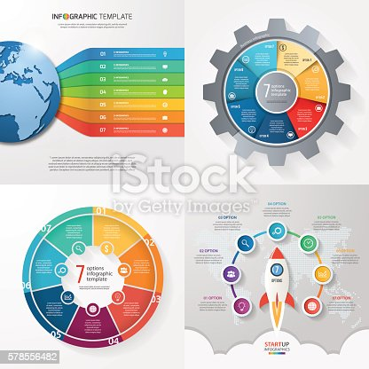 Four infographic templates with 7 steps, options, parts, processes. Business concept.