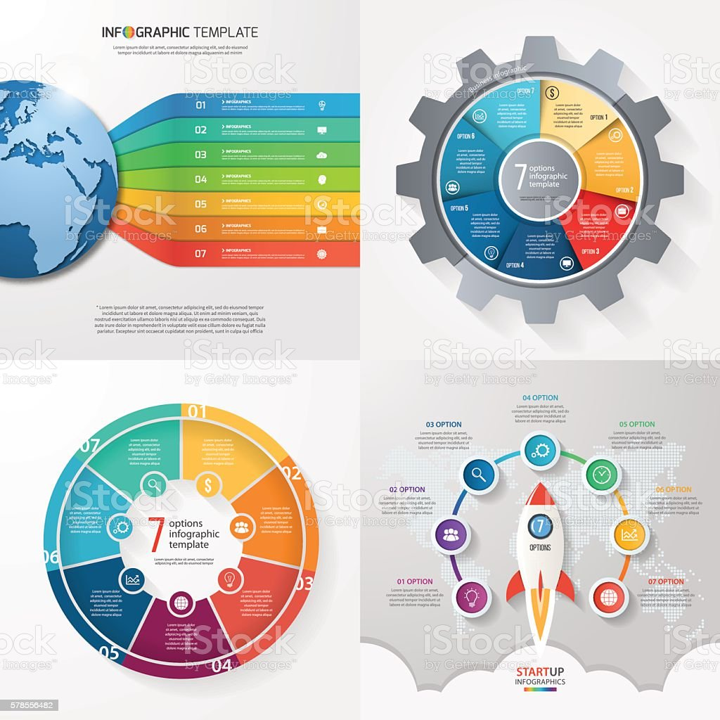 Four infographic templates with 7 steps, options, parts, process vector art illustration