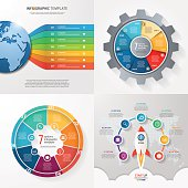 Four infographic templates with 7 steps, options, parts, process