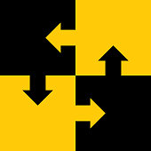 istock Four Interlocked Black And Gold Arrow Puzzle Pieces 1140279202
