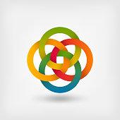 Four interlocked circles in gradient rainbow colors. Vector illustration