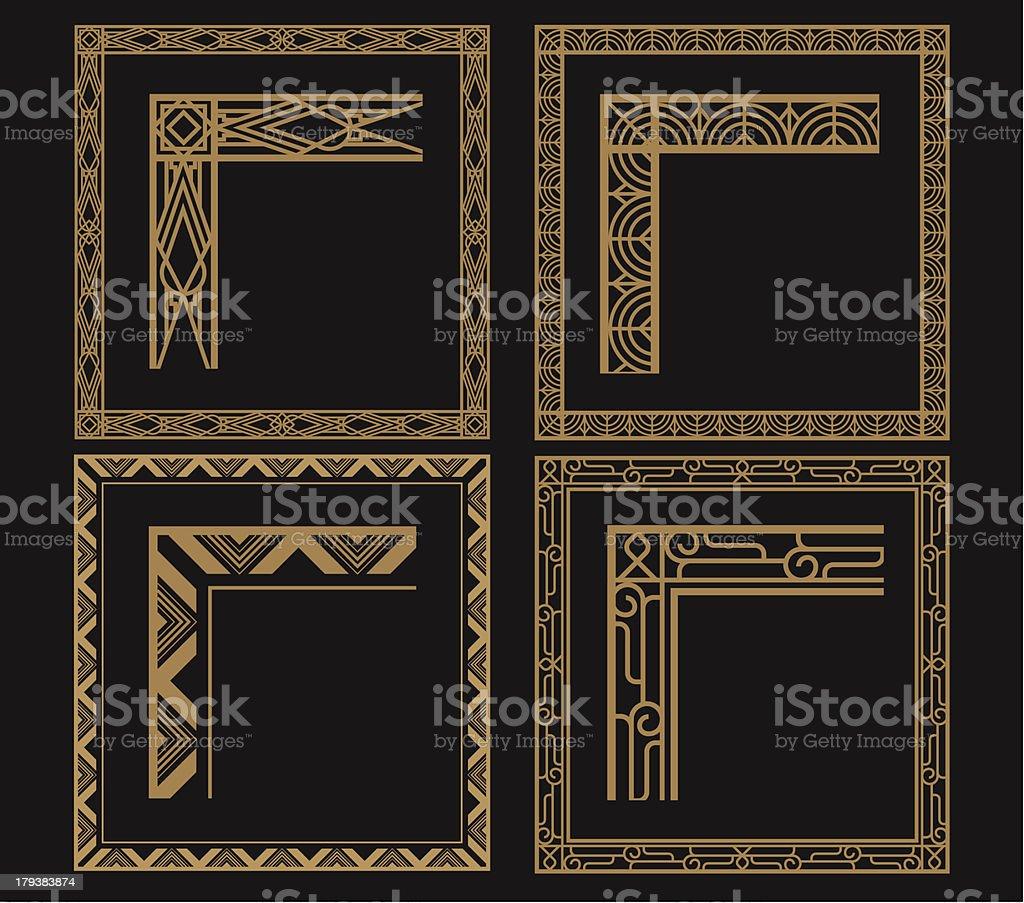 Four Intricate Gold Art Deco Borders On Black Stock Vector Art ...