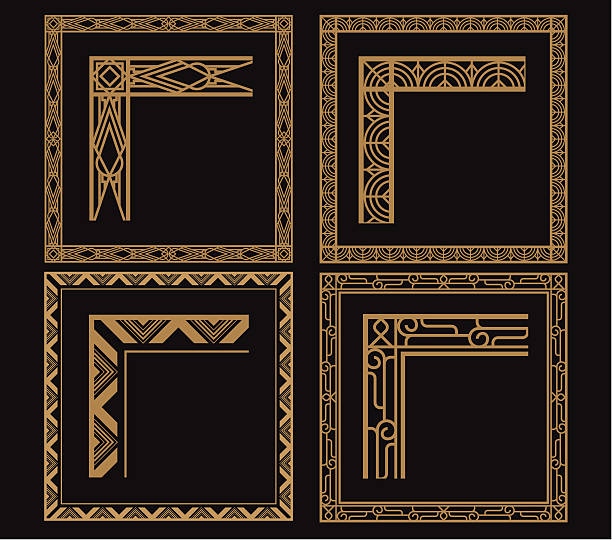 Four intricate gold art deco borders on black vector art illustration