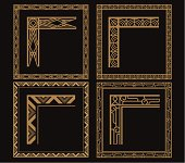 Four intricate gold art deco borders on black