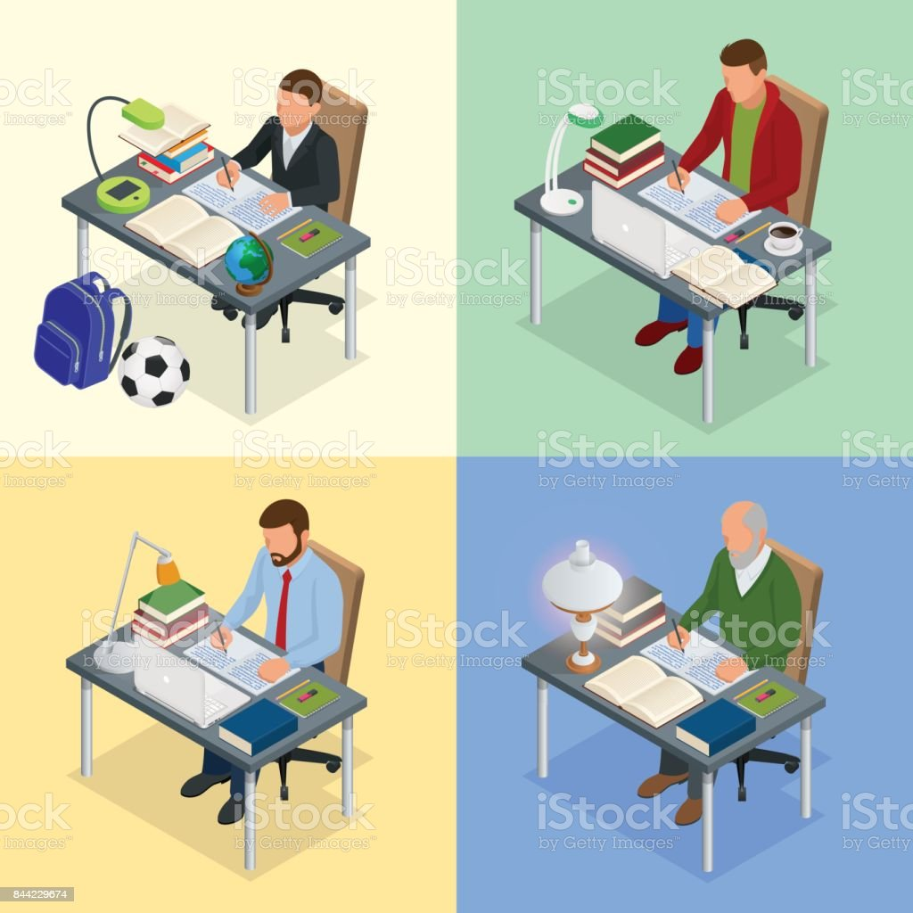 Four isometric pictures on the subject of training. A boy, teenager, man, old man sits at a table with books and writes. Scientist, teacher and student. Homework or Lesson Isolated on white background