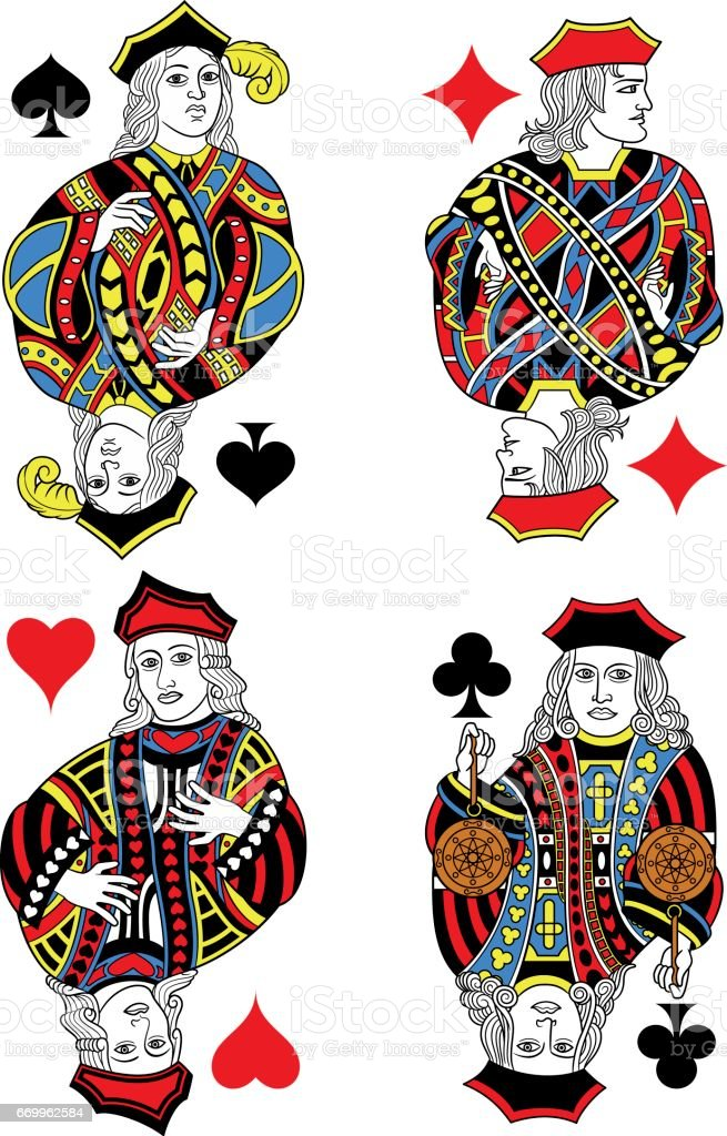 Four Jacks French Inspiration Without Cards vector art illustration