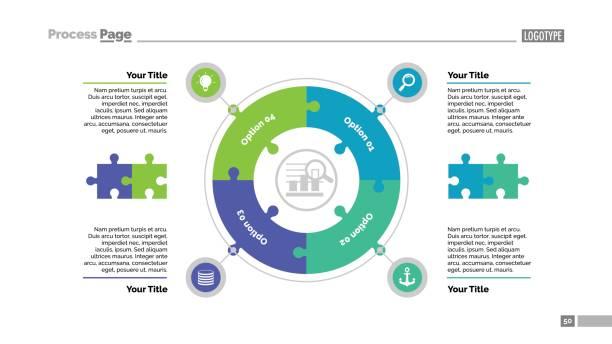 ilustrações de stock, clip art, desenhos animados e ícones de four jigsaw puzzle elements slide template - circular economy