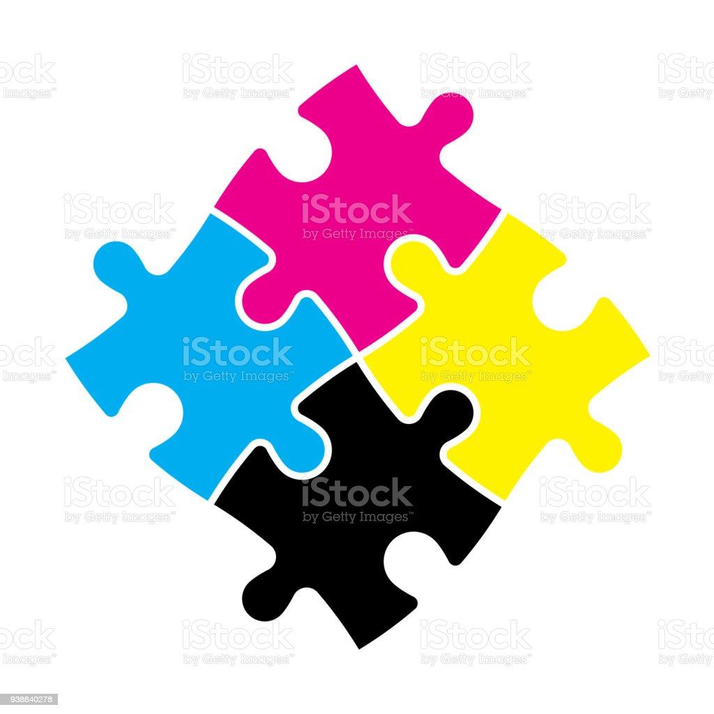 Ilustración de Rompecabezas 4 Piezas En Colores Cmyk Tema De La ...